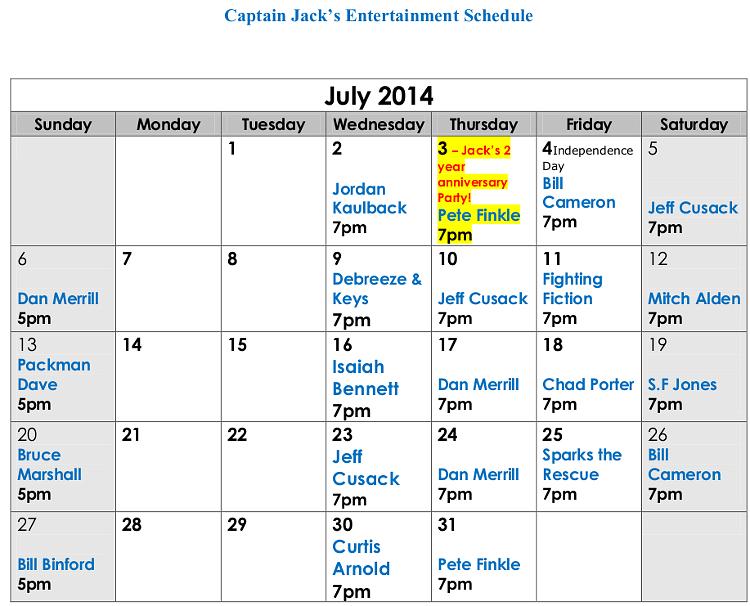 Captain Jack's Live Entertainment Naples Maine July 2014