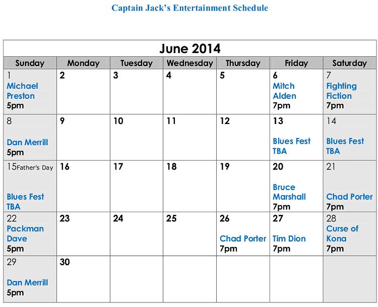 Captain Jack's Live Entertainment Naples Maine June 2014