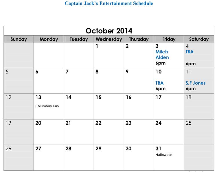 Captain Jack's Live Entertainment Naples Maine October 2014