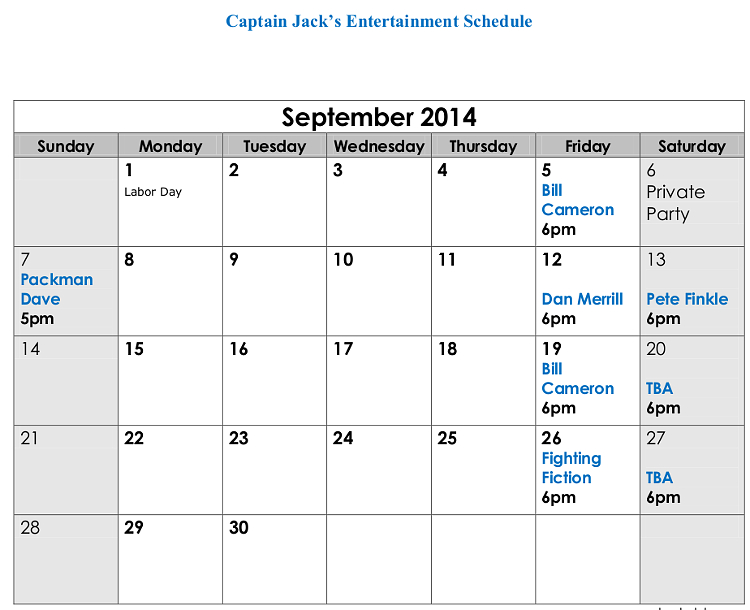 Captain Jack's Live Entertainment Naples Maine September 2014
